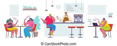 magasin, plat, café, caractères, séance gens, restaurant., scène, personnes, vecteur, cafe., boire, communiquer, dessin animé, heureux