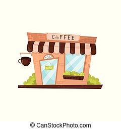 magasin, plat, café, extérieur, commercial, dessin animé, façade, vecteur, conception, cafe., petit, style., ou, magasin, bâtiment.