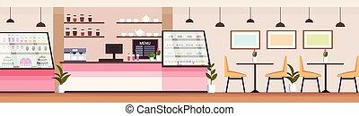 magasin, plat, café, gens, moderne, boulangerie, vide, conception, non, intérieur, horizontal, cafétéria, magasin