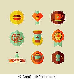 magasin, plat, café, icônes