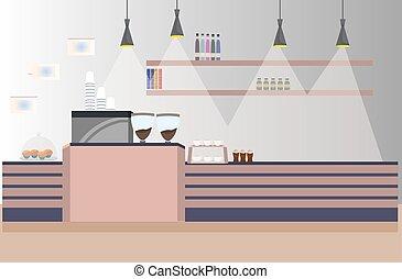 magasin, plat, café, restaurant, moderne, gens, non, intérieur, horizontal, café, vide