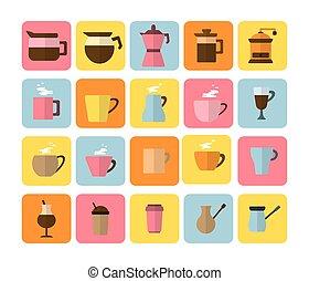magasin, plat, ensemble café, icônes, moderne