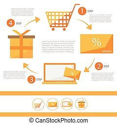 magasin, plat, ensemble, e-commerce, -, illustration, infographic, escompte, vecteur, carte
