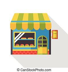 magasin, plat, magasin, icône