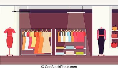 magasin, plat, mode, achats, grand, boutique, moderne, centre commercial, femme, intérieur, horizontal, marché super, vêtements