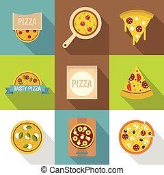 magasin, plat, style, icônes, ensemble, pizza