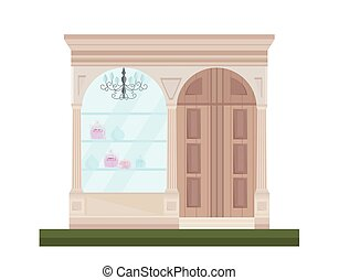 magasin, plat, style, illustration, vecteur, façade