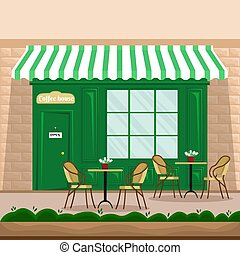 magasin, plat, tables café, chaises, style, illustration, vecteur, retro, rue., façade