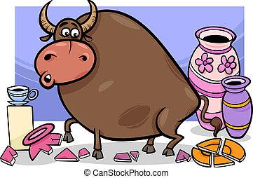 magasin, porcelaine, dessin animé, taureau