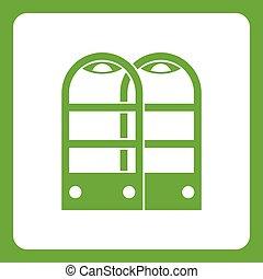 magasin, portes, anti, vol, vert, sécurité, capteur, icône