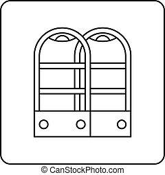 magasin, portes, contour, anti, vol, sécurité, capteur, icône