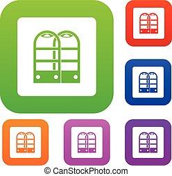 magasin, portes, ensemble, couleur, collection, anti, vol, sécurité, capteur