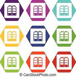 magasin, portes, ensemble, couleur, hexahedron, anti, vol, sécurité, capteur, icône