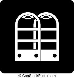 magasin, portes, simple, anti, vol, sécurité, capteur, icône