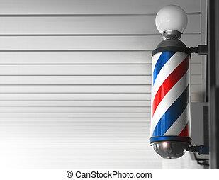 magasin, poteau, coiffeur