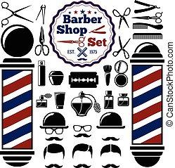 magasin, poteau, instruments, style., coiffeur, silhouettes, set., hairstyles., vecteur, vendange, accessoires
