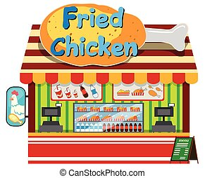 magasin, poulet, frit, fond blanc