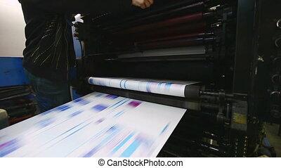 magasin, prêt, couleur, typographie, machine, copie journal