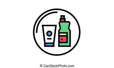 magasin, produits chimiques, ménage, animation, icône, couleur, département