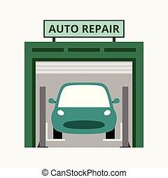 magasin, réparation, concept, business, auto, bleu, isolé, illustration, fond, vecteur