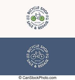 magasin, réparation, ensemble, vélo, service, tour, vente, vélo, signe, autocollant, logo, loyer, consister