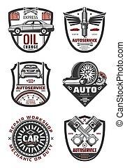 magasin, réparation, service, auto, voiture d'époque, insignes