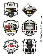 magasin, réparation, service, vendange, garage, voiture, insignes