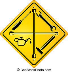 magasin, réparation voiture, signe