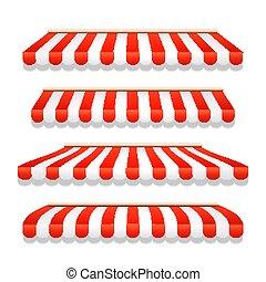 magasin, restaurant, épicerie, parapluie, toit, canopy., marquise, rue, rayé, rouges, devant, vue., café, ou, magasin, tente