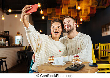 magasin, rigolote, café, couple, jeune, ensemble, confection, selfie