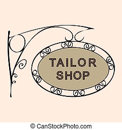 magasin, rue, vendange, signe, tailleur, retro