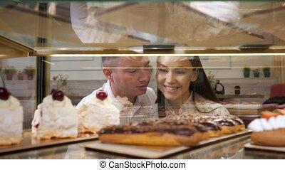 magasin, savoureux, gâteaux, couple, cas, chooses, verre,...