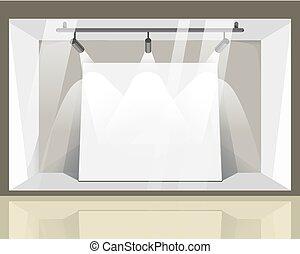 magasin, spacieux, vitrine, à, clair, projecteurs, vue...