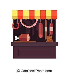 magasin, stalle, produits, viande, viandes