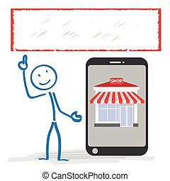 magasin, stickman, smartphone, bannière