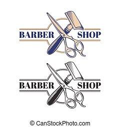 magasin, style, illustration, équipement, vecteur, coiffeur, gravé