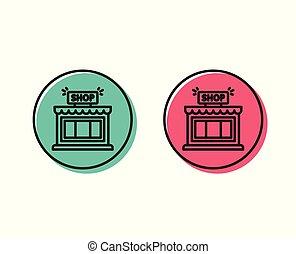 magasin, symbole., vecteur, ligne, icon., magasin