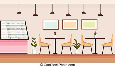 magasin, tables, café, gens, chaises, moderne, plat, boulangerie, vide, non, intérieur, horizontal, cafétéria, vitrine, magasin