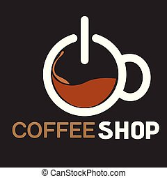 magasin, tasse à café, sommet, vecteur, fond, image, vue