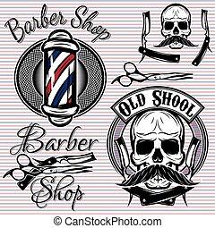 magasin, thème, ensemble, coiffeur, emblèmes