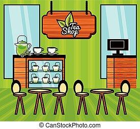magasin, thé, scène, restaurant