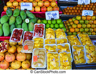 magasin, thaïlande, fruit