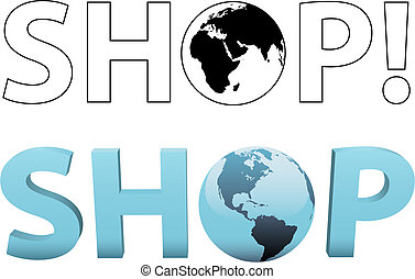 magasin, toile, achat, globe global, 2d, internet, mondiale, 3d