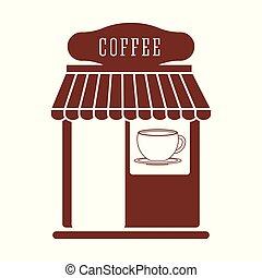 magasin, traditionnel, café, marché
