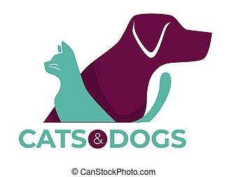 magasin, vétérinaire, abri, isolé, chiens, clinique, chats, animaux familiers, ou, icône