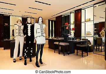 magasin, vêtements, femmes, mannequins, luxe