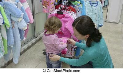 magasin, vêtements, fille, mère