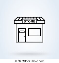 magasin, vecteur, rayé, magasin, symbole, icône, style, ...