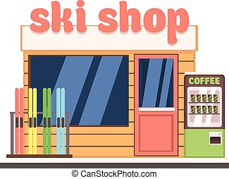 magasin, vecteur, ski, illustration, front.