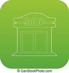 magasin, vecteur, vert, icône